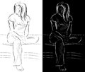 Itting young woman sketch of sitting Stock Photo