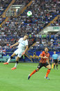 Ivan bobko returns the ball by head during match between shakhtar donetsk city ukraine vs chernomorets odessa city ukraine may Royalty Free Stock Photography