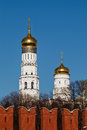 Ivan the great bell tower behind kremlin wall moscow russia Royalty Free Stock Photography