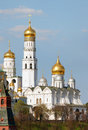 Ivan the great bell tower and dome churches in territory of moscow kremlin Royalty Free Stock Photography