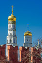 Ivan the great bell tower and moscow kremlin battlements of wall Stock Images