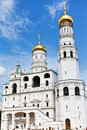 Ivan the great bell tower in moscow kremlin russia july and assumption belfry on july it is tallest of towers with Stock Images