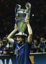 Ivan rakitic with uefa champions league trophy barcelona players pictured during the award ceremony held after the final between Royalty Free Stock Image