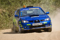 Ivan Smirnov on Subaru Impreza at Russian rally Royalty Free Stock Photos