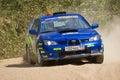 Ivan Smirnov on Subaru Impreza at Russian rally Royalty Free Stock Photo