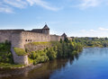 Ivangorod fortress russia at the border of and estonia Stock Photography