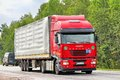 Iveco stralis as chelyabinsk region russia july red semi trailer truck at the interurban road Royalty Free Stock Photos