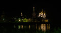 Iver monastery at night reflected in water novgorod region Stock Photography