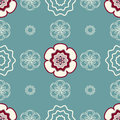 Ivory and deep red flowers on a light greenish blue background seamless pattern of Stock Image