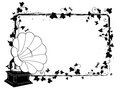 Ivy frame with gramophone vector rectangle branch of and Royalty Free Stock Photos