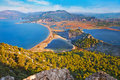 Iztuzu beach and the delta of dalyan river before sunrise turkey is a long near in ortaca district Royalty Free Stock Photography