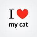 J aime ma cat red heart vector Photos libres de droits