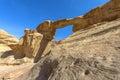 Jabal umm fruth bridge in wadi rum is one of several natural arches jordan Royalty Free Stock Images