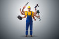 The jack of all trades concept with worker Royalty Free Stock Photo