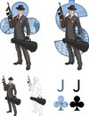 Jack of clubs mafioso with tommy gun mafia card retro styled comics character set illustrations black lineart Stock Images