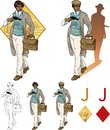 Jack of diamonds afroamerican boy with a gun mafia retro styled comics card character set illustrations black lineart Royalty Free Stock Photo