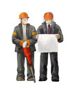 Jack hammer worker and project manager. Builders working on construction works illustration Royalty Free Stock Photo