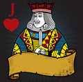 Jack of Hearts with banner Royalty Free Stock Photo