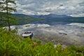 Jack london s lake summer reflexions boat the magadan area kolyma img Stock Photo