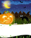 Jack o lantern and black cat evil pumpkin head near the fence halloween night scene Stock Image