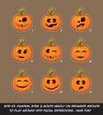 Jack O Lantern Cartoon - 9 Funny n Goof Expressions Set Royalty Free Stock Photo