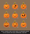 Jack O Lantern Cartoon - 9 Vampire Expressions Set Royalty Free Stock Photo