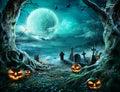 Jack `O Lantern In Cemetery In Spooky Night Royalty Free Stock Photo