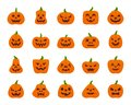 Jack O Lantern simple flat color icons vector set Royalty Free Stock Photo