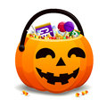 Jack O Lantern Full Of Candy Royalty Free Stock Photo