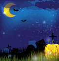 Jack o Lantern on a night Cemetery Royalty Free Stock Image