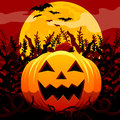 Jack O Lantern In Spooky Field Royalty Free Stock Images