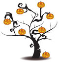 Jack o lantern tree in halloween festival create pumpkin by vector Royalty Free Stock Images