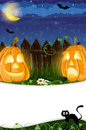 Jack o lanterns and black cat funny opposite each other near the fence halloween night scene Royalty Free Stock Photo