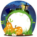 Jack o lanterns on a cemetery evil pumpkin head night abstract halloween background Stock Photo
