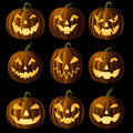 Jack o lanterns set of deailed work Royalty Free Stock Image