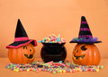 Jack O Lanterns Wearing Witch ...