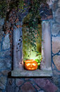Jack olantern on halloween night the blind window board the evening Royalty Free Stock Photos