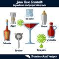Jack Rose cocktail. Infographic set of isolated elements on white background Royalty Free Stock Photo