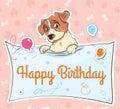 Jack Russell terrier llustration cartoon card