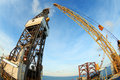 Jack up offshore oil drilling rig fish eye angle perspectiv with perspective Stock Images