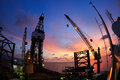 Jack up offshore oil drilling rig in the morning with fish eye angle perspective Stock Photo