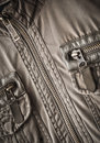 Jacket fragment with metal zipper Royalty Free Stock Images