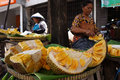 Jackfruit traders were peeling for sale in a market in the city of solo central java indonesia Stock Image