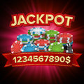 Jackpot Big Win Bright Casino Banner Vector. For Online Casino, Card Games, Poker, Roulette. Royalty Free Stock Photo