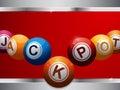 Jackpot bingo lottery balls on red and metallic panel Royalty Free Stock Photo