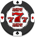 Jackpot casino chip black with heats spades clubs and diamonds Royalty Free Stock Photos