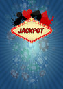 Jackpot casino illustration of with chips fall Royalty Free Stock Photography