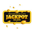 Jackpot casino label background sign. Casino jackpot coins money winner text shining symbol isolated on white Royalty Free Stock Photo