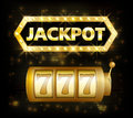 Jackpot casino lotto label background sign. Casino jackpot 777 gamble winner with text shining symbol on white