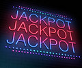 Jackpot concept illustration depicting an illuminated neon sign with a Royalty Free Stock Photo